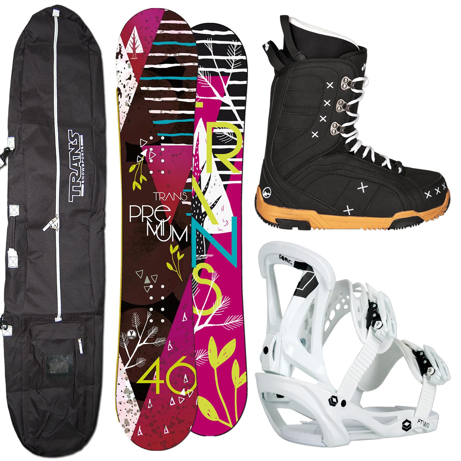 DAMEN SNOWBOARD TRANS PREMIUM 144 CM BERRY + SONIC BINDUNG GR. M + BOOTS + BAG